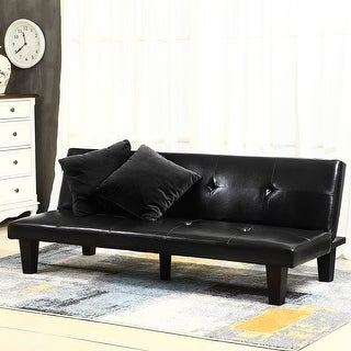 """Belleze 69"""" Leather Faux Fold Down Futon Convertible Sofa Bed Couch w/ 2 Pillow- Black"""