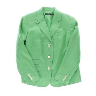 Lauren Ralph Lauren Womens Plus Three-Button Blazer Linen Classic