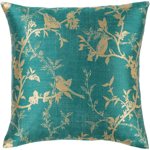 Silver Orchid Robson Woven Floral 18-inch Throw Down or Poly Filled Throw Pillow