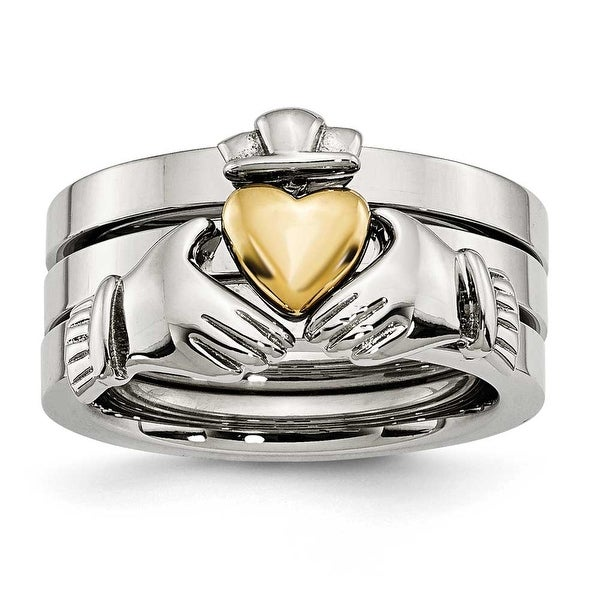 Stainless Steel Polished Yellow IP-plated Claddagh Ring Set Ring