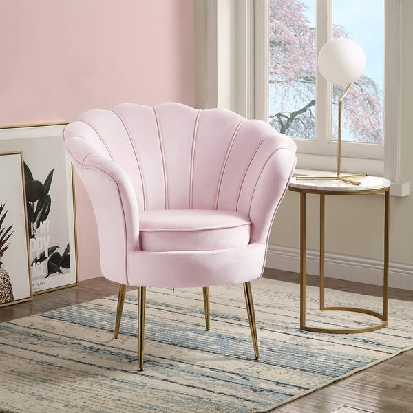 Angelina Velvet Scalloped Back Barrel Accent Chair with Metal Legs. Opens flyout.