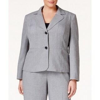 Kasper Gray Black Women Size 14W Plus Two-Button Notch-Collar Jacket