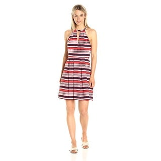 Kensie Striped Cutout Fit Flare Dress Hot Lava Combo