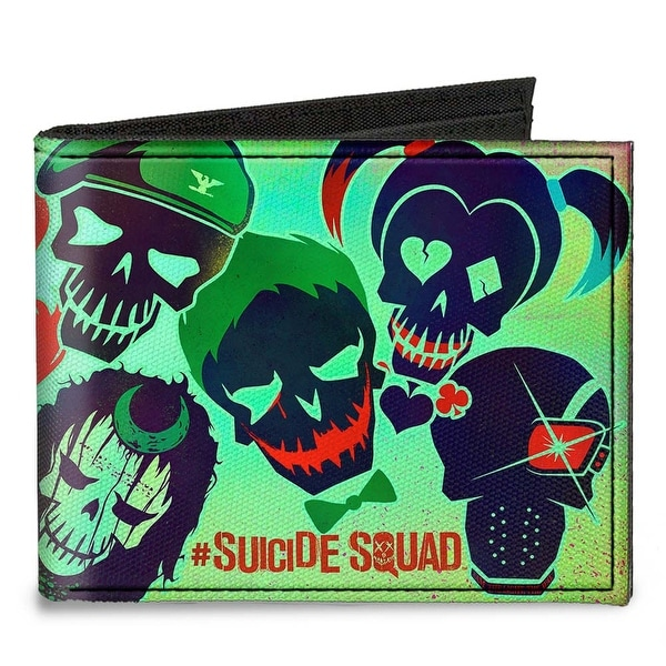 Suicide Squad 10 Stylized Character Faces Scattered Greens Multi Color Canvas Bi-Fold Wallet One Size - One Size Fits most