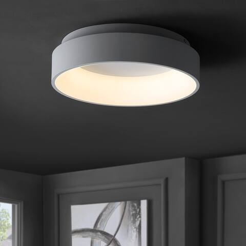 """Ring 17.7"""" Integrated LED Flush Mount Ceiling Light, White by JONATHAN Y"""