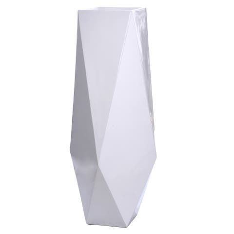 Harp & Finial Roa 32-inch Gloss White on Resin Small Floor Vase