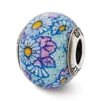 Italian Sterling Silver Reflections Blue Floral Decorative Overlay Glass Be (4mm Diameter Hole)