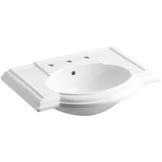 """Kohler K-2295-8  Devonshire 27"""" Vitreous China Pedestal Bathroom Sink with 3 Faucet Holes at 8"""" Centers and Overflow"""