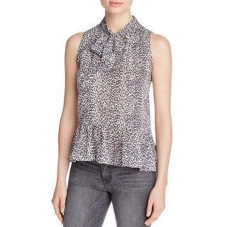 Joie Womens Estero Peplum Top Silk Animal Print