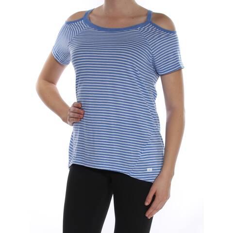 9b444b15 TOMMY HILFIGER Womens Light Blue Cold Shoulder Striped Short Sleeve Scoop  Neck Top Size: M