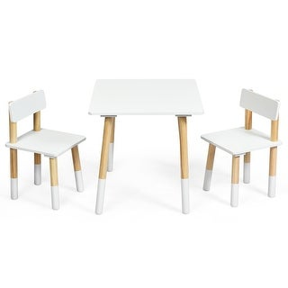 Costway Kids Wooden Table & 2 Chairs Set Children Activity Table Set