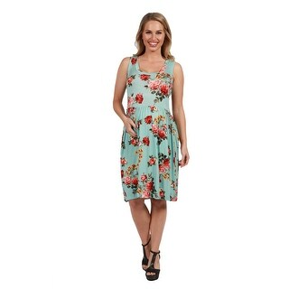 24Seven Comfort Apparel Nicole Green Floral Maternity Dress