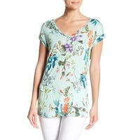 Philosophy Green Womens Size Small S Floral-Print V-Neck Knit Top