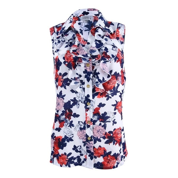 e1a18a5fbe6 Shop Tahari Women s Floral-Print Button-Front Blouse - Ivory Navy Poppy -  Free Shipping On Orders Over  45 - Overstock - 21855246