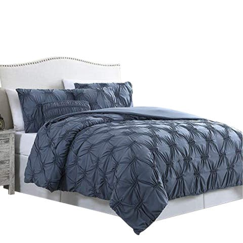 Marseille 5 Piece King Comforter Set with Pinch Pleated Design The Urban Port, Blue