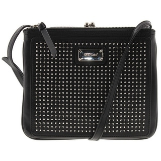Nine West Womens Jaya Crossbody Handbag Faux Leather Studded - Black - SMALL