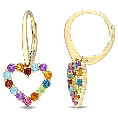 Miadora Multi-Color Gemstone Heart Open Hoop Drop Leverback Earrings in 10k Yellow Gold