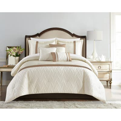 Chic Home Macy 10 Piece Comforter Set Jacquard Woven Geometric Design Pleated Quilted Details Bed In A Bag Bedding
