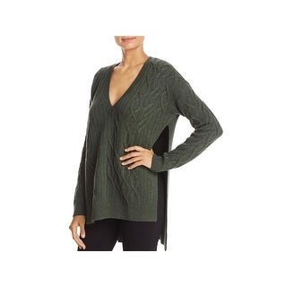 Kenneth Cole Womens Pullover Sweater Wool Cable Knit