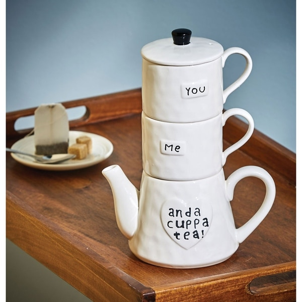 You, Me, and a Cuppa Tea - Stackable Cup and Teapot Set - White Stoneware