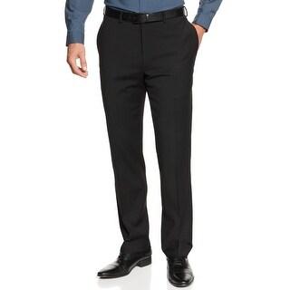 Calvin Klein CK Slim Fit Black Wool Blend Dress Pants Flat Front and Hemmed