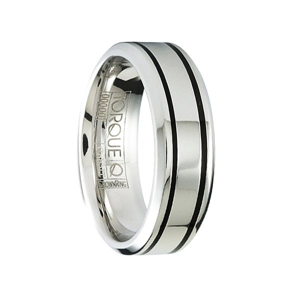 BRIDGET Polished Flat Cobalt Wedding Ring with Dual Black Accents Beveled Edges by Crown Ring - 7mm