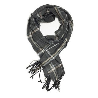 """Super Soft Luxurious Classic Cashmere Feel Winter Scarf - Gray - 72""""x12"""" with 15"""" fringes"""