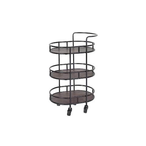 Belloq Iron & Acacia 3-Tier Rolling Bar Cart