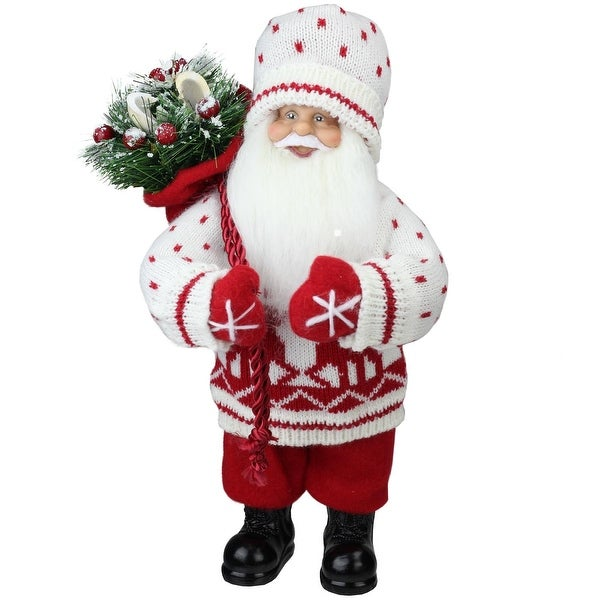"12.5"" Retro Christmas Santa in Knit Deer Sweater with Sack of Pine Table Top Decoration"