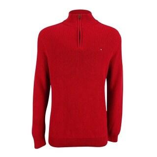 Tommy Hilfiger Men's Harrington Quarter-Zip Sweater (XL, Chili Pepper) - Chili Pepper - XL