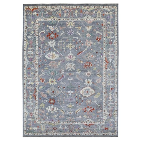 """Shahbanu Rugs Oushak Hand Knotted Gray with Soft Colors Organic Dyes Oriental Rug (9'8"""" x 13'5"""") - 9'8"""" x 13'5"""""""