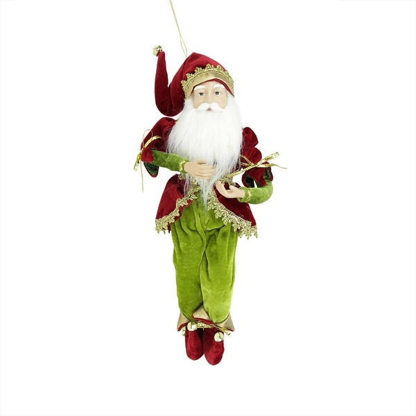 "18"" Enchanted Red, Gold and Green Poseable Whimsical Christmas Elf King Figure - RED"