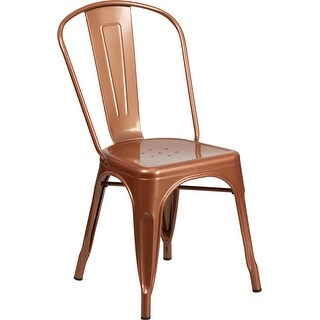 Brimmes Copper Metal Stackable Chair for Patio/Bar/Restaurant