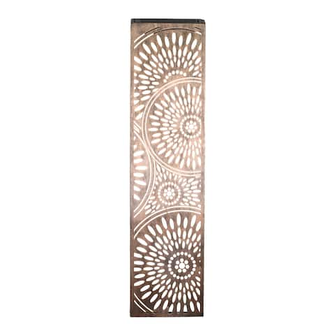 Exhart Solar Metal Filigree Wall Panel Art with Circle Pattern, 8 x 33 Inches