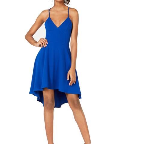 B. Darlin Blue Size 6 Junior A-Line Dress High Low V Neck Lace Back