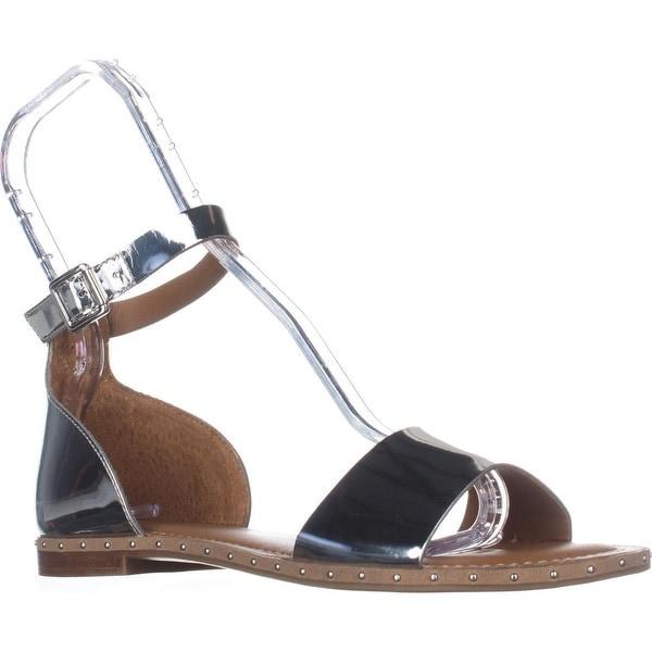 Franco Sarto Venice Ankle Strap Flat Sandals, Silver