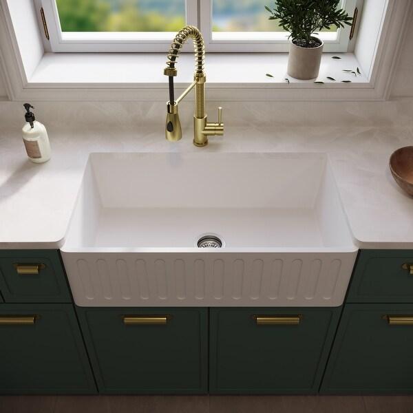 VIGO White 33-inch Matte Stone Farmhouse Kitchen Sink