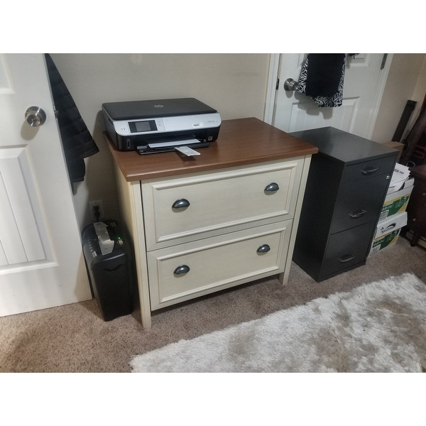 Shop Stanford 2 Drawer Lateral File Cabinet In Antique White And Tea Maple    On Sale   Free Shipping Today   Overstock.com   20676415