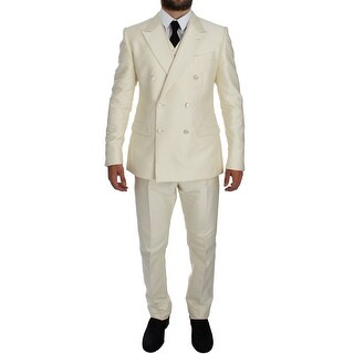 Dolce & Gabbana White Slim Double Breasted 3 Piece Suit