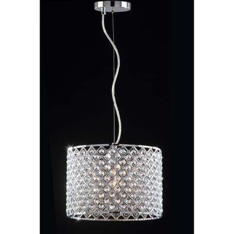 "Safavieh Lighting 12-inch Silva Chrome Beaded Adjustable Diamond Pendant - 12""x12""x13 - 82"""