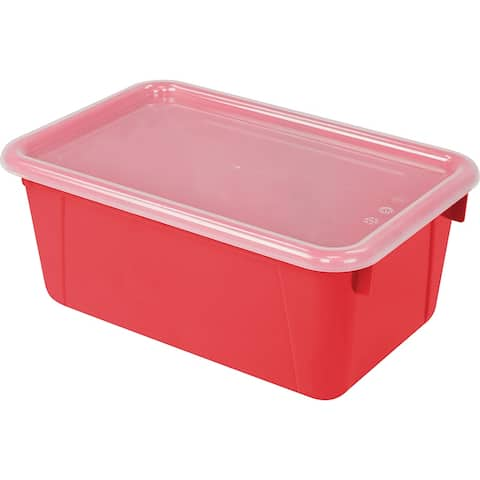 Storex small cubby bin with cover red 62407u06c