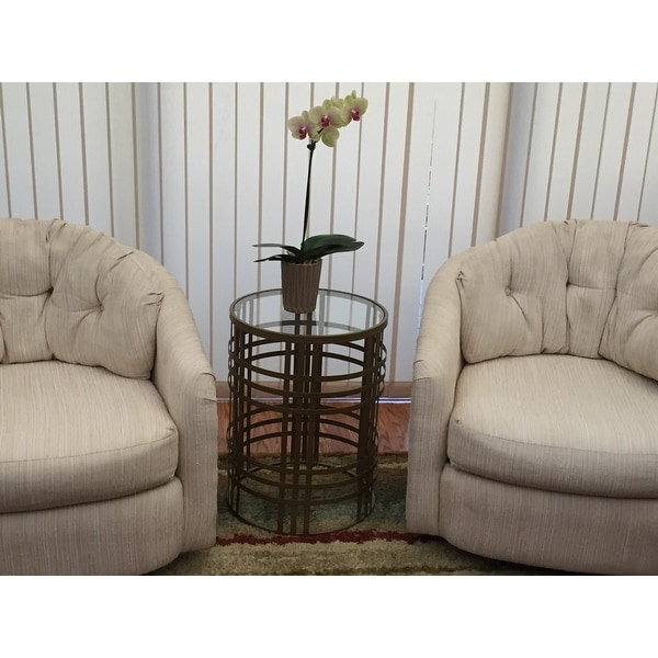 U0027Weaveu0027 Metal Barrel End Table   Free Shipping Today   Overstock.com    15289404