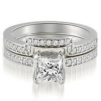 1.15 cttw. 14K White Gold Princess And Round Cut Diamond Bridal Set