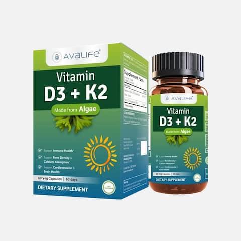 Avalife Vitamin D3 + K2 Capsules, for Men & Women - 60 Capsules