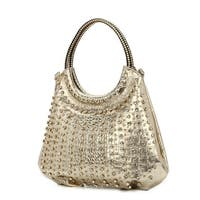 Hearty Trendy Gold Rolled Top Handle Glitter Accents Shoulder Strap Bag Purse