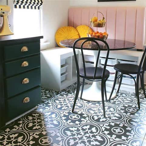 SomerTile 9.75x9.75-inch Art Black Porcelain Floor and Wall Tile