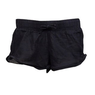 Roxy Women's Soft Crochet Crinkled Swim Short (L, Black) - Black - L