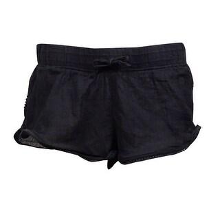 Roxy Women's Soft Crochet Crinkled Swim Short (S, Black) - S