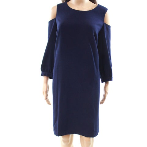 Eliza J Navy Cold-Shoulder Women's Plus Sheath Dress