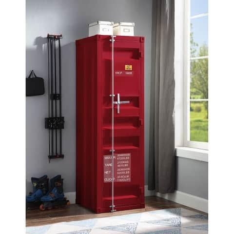 Q-Max Red Finish Metal Frame Recessed Panels Rectangular Wardrobe